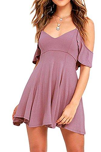 DOKOTOO Damen Skater Kleid Violett ...