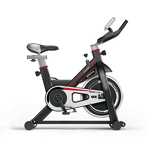 Bicicleta de Spinning Fitness Profesional Portátil Completa | 18kg Inercia |Pantalla LCD tiempo, scan, velocidad (RPM), distancia, calorías, pulsómetro, etc | Robusto Chasis para Mayor estabilidad