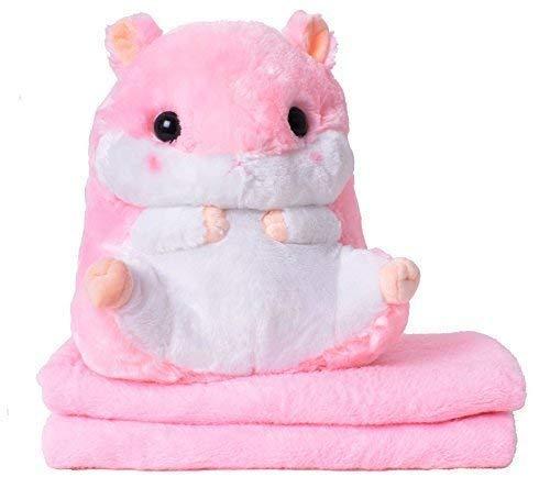TE-Trend 2in1 Baby Kinder Plüschtier Hamster 40cm mit Fleecedecke im Bauch des Kuscheltieres in Pink