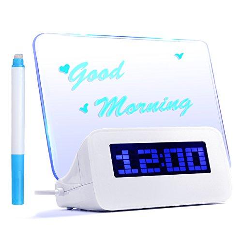 Baban Réveil Digital Tableau LED Bleu Message Lumineux Fluorescent + 4 USB + Message Pen Deco Cadeau, USB 2.0 DC 4.5V 1A