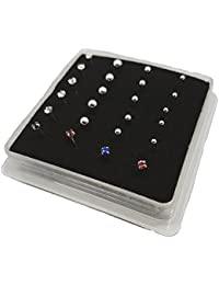 Pack of 24 Sterling Silver Nose Studs Clawset (gem can not fall out) 5 Colors & Silver Plain Ball 3mm,2mm,1.5mm