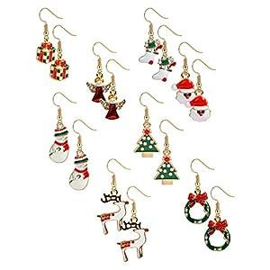 BESTEEL 8 Paare Edelstahl Weihnachten Ohrstecker Ohrringe für Herren Damen Mädchen Kinder Hoop Ohrringe Ohrstecker Baumeln Süß Fest Urlaub Weihnachtsmann Schneeflocke Schneemann Rentier Geschenk