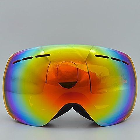 ZHGI Occhiali da sci sferica doppia anti-nebbia professionale attrezzature outdoor arrampicata occhiali da neve specchi del vento,un