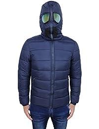 AK collezioni Giubbotto Piumino Uomo Blu Casual Invernale con Cappuccio e  Occhiali 2245c5371a7