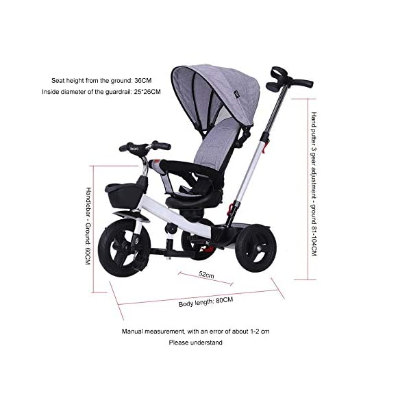 BGHKFF 4 In 1 Childrens Tricycles 1 To 5 Years 360° Swivelling Saddle 2-Point Safety Belt Children's Pedal Tricycle Folding Sun Canopy Children's Hand Push Tricycle Maximum Weight 50 Kg,Green BGHKFF ★Material: High carbon steel frame, suitable for children aged 1-5, maximum weight 50 kg ★ 4 in 1 multi-function: can be converted into a stroller and a tricycle. Remove the hand putter and awning, and the guardrail as a tricycle. ★Safety design: golden triangle structure, safe and stable; 2 point seat belt + guardrail; rear wheel double brake 4