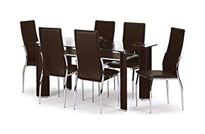 Julian Bowen Boston Dining Table Set with 4 Chairs, Brown - low-cost UK dining table shop.