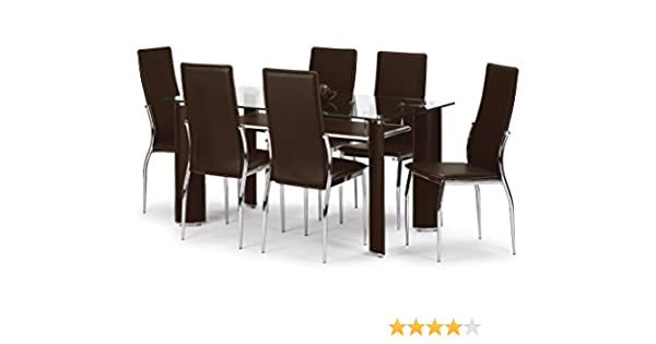 Julian Bowen Boston Dining Table Set with 6 Chairs Brown Amazon Kitchen & Home - brown dining chairs