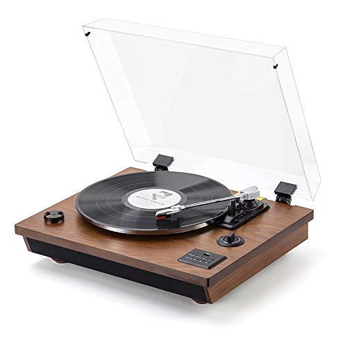 SHUMAN MC262 Table Tournante Bluetooth en Bois Massif , Table Tournante en Vinyle à 3 Vitesses, Bluetooth, USB, RCA,Vinyle à MP3 Codage Fonction,Haut-parleurs Stéréo Intégrés, Couleur Bois Brun