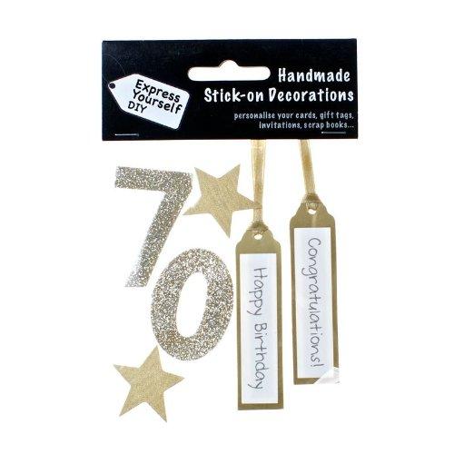 DIY Luxus- 3D-Sticker Zahl 70 gold Glitter - Gold Glitter Scrapbooking