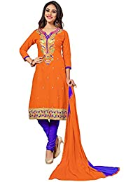 Nivah Fashion Women's Ltest Cotton Embroidery Work With Stoning Salwar Sui (Free Size_Semi-Stich) G06(Orange)