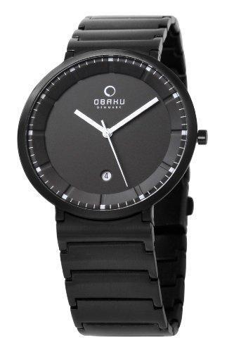 Obaku Harmony 28-V147GBBSB - Reloj analógico de cuarzo para hombre, correa de acero inoxidable chapado color negro