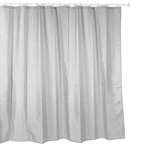 duschvorhang 220 x 200 Duschvorhang Textil ( Polyester ) 220x200 cm uni grau / hellgrau wasserabweisend Anti-Schimmel waschbar / Badewannenvorhang Vorhang, hochwertige Qualität mit Ringen und Beschwerung