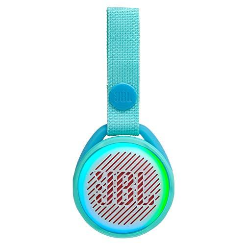 JBL JR Pop Mini-Boombox für Kids in Türkis - Poppiger, wasserdichter Bluetooth-Lautsprecher mit eingebauten Lichtmotiven - Bis zu 5 Stunden Musik hören mit nur einer Akku-Ladung