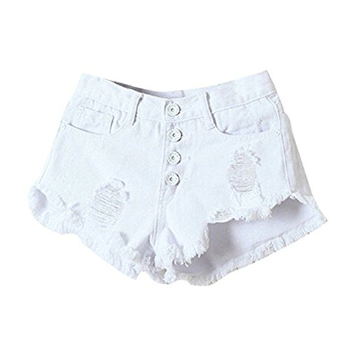 Bepo Frauen Hohe Taille Lace up Riss Hot Shorts Tassel Hot Pants White-1
