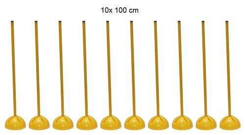 Boje Sport 10er Set Slalomstange mit X-Standfuß, Stange 100 cm - Farbe: gelb