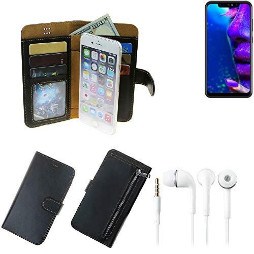 TOP SET für Allview Soul X5 Pro Portemonnaie Schutz Hülle schwarz aus Kunstleder + Kopfhörer Walletcase Smartphone Tasche für Allview Soul X5 Pro vollwertige Geldbörse mit Handyschutz - K-S-