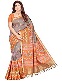 Maliqua Women's Art Silk Patola Printed Saree With Blouse Piece