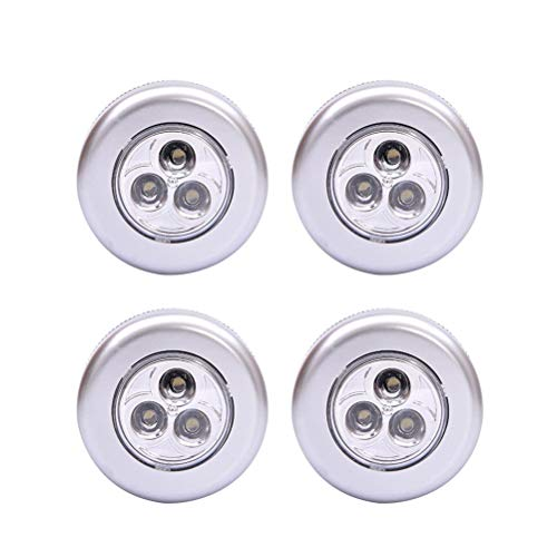 LEDMOMO Luces debajo del gabinete Luces de gabinete de control táctil 4PCS Luces LED del gabinete Luz de gabinete pegable Batería sin batería