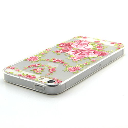 iPhone 6S Hülle, iPhone 6 Hülle, SainCat iPhone 6S / 6 Silikon Hülle Tasche Handyhülle [Kratzfeste, Scratch-Resistant] TPU Gel Case Weiches Schutzhülle Silikon Crystal Kirstall Clear Case Durchsichtig Rosa Rosen
