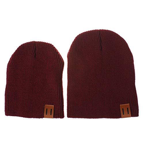 2 Stück Pom Mütze Deckel, Quaan Mama und ich Solide Farbe Häkeln Stricken Winter Warm ()