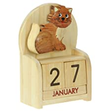 Cat Perpetual Calendar : Handcrafted Wood : Top Christmas Gift Idea : Traditional Xmas Present & Novelty Stocking Filler : For Children, Kids, Boys, Girls, Him, Her & Fun Loving Adults! : 50+ Garden Bird, Animal & Transport Designs (Size 10.5x7x3.5cm)