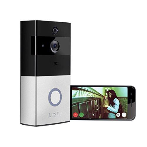 Funk Video Türklingel,LESHP WLAFunk Video Türklingel ,LESHP WLAN 1080P HD Video Drahtlose Haustürklingel Bewegungserkennung und Nachtsicht 160 Weitwinkel Funkklingel mit Kamera Sprechanlage Türöffnungssystem,Wechselbarer Akku