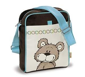 Shoulderbag bear grey-beige nylon/plush 19x24x7cm