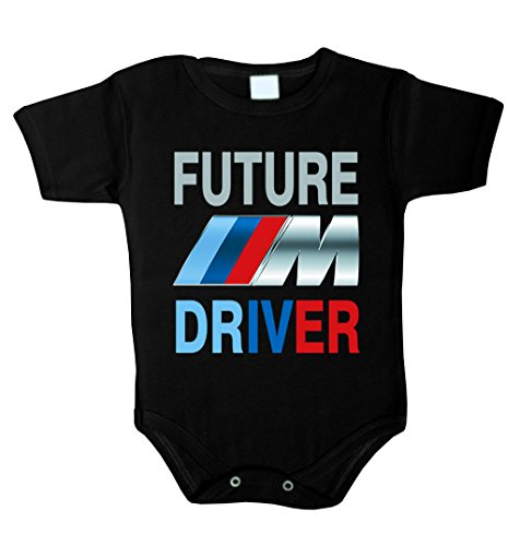 Future BMW ///M Driver Baby Body Babykleidung Strampler Unterwäsche Weihnachts Geschenk (80 (12-18 m), schwarz)