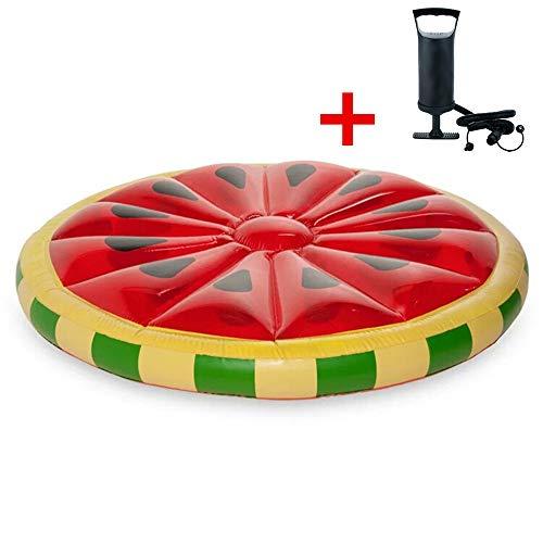 Miya tragbare Sommer aufblasbare Spielzeug Schwimmbad schwimmende Bett,Sonnenliege Runde Wassermelone Form Schwimmen Wasserbett Strandmatte Wasser Partei Spielzeug mit Luftpumpe geeignet,für Kinder