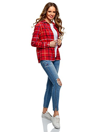 oodji Ultra Damen Viskose-Bluse mit Druck Rot (4579C)