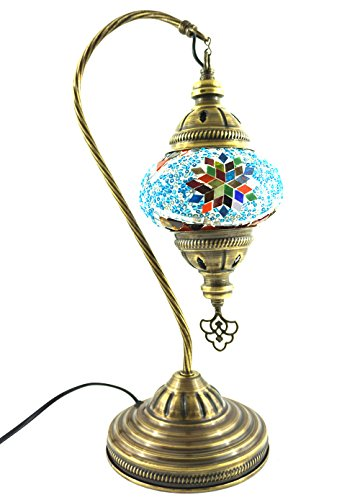 Handgefertigte Orientalisch Türkisch Tisch Lampe Innenleuchte Nachttischlampe Beistelllampe Handarbeit Mosaik Glas Tischlampe Bogenlampe Glasgröße 2 (Blau-Rot-Silber) - Rot-glas-tisch-lampe