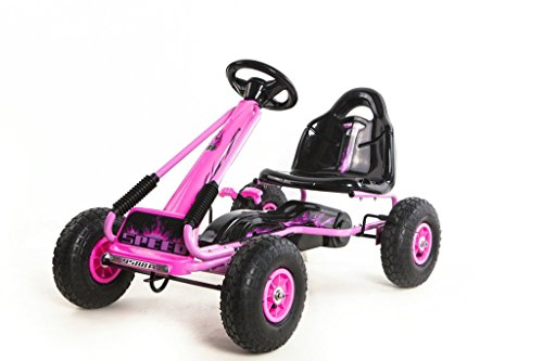 Rideontoys4u Top Racer Pedal Go Kart mit Gummi-Air Wheels & Gear Bremshebel