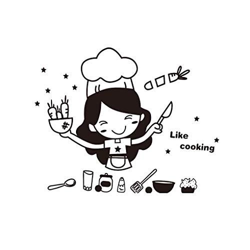 Küche Kaffee, Kuchen und Süßwaren Karikatur-Mädchen Kochen DIY Wand-Aufkleber Esszimmer PVC-Tapeten Removable Abziehbilder Mengonee