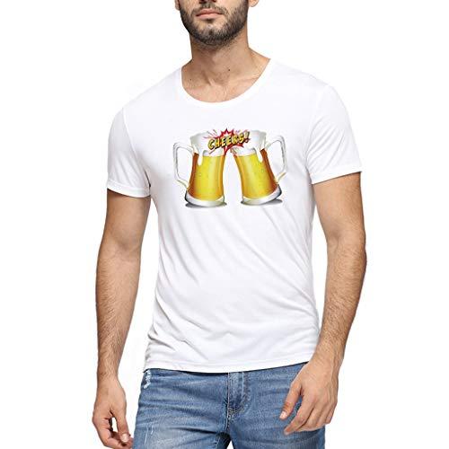 Chejarirty 3D Gedruckt Muster T-Shirt Bayerische Bierfest Sommer Comfort Lässige Wiesn Bluse Herren Junge Kurze Ärmel Männer Oktoberfest Kostüm Funshirt Bier Bedruckt Oberteile (XXL, Weiß) (Kindes Holzfäller Kostüm)