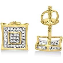 earrings-midwestjewellery Hombre Pendientes de tuerca de diamante en oro amarillo de 10K 1/6cttw 8,5mm de ancho rosca trasera Pave