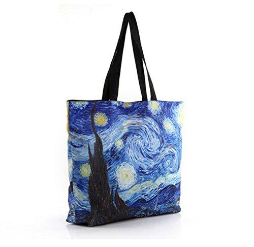 Tier Drucken Schulter Tasche (Star art handtaschen, art druck tuch tasche-A)
