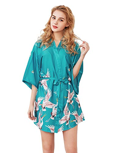 mono Kleid Pfau Muster Kimono Bademantel mit Gürtel Schlafmantel Girl Pajama Party (Peacock Blau-M) ()