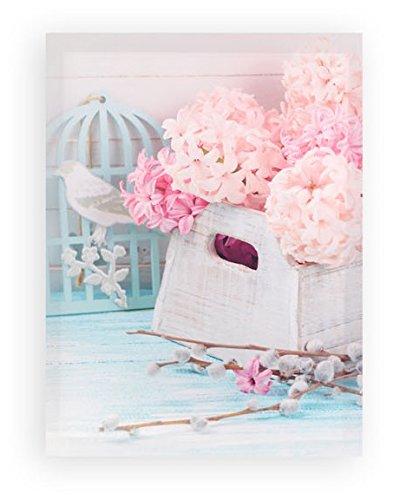 AVENUELAFAYETTE Cadre Toile Tableau Fleurs Roses - Oiseau - Romantique - 40 x 30 cm (M3)