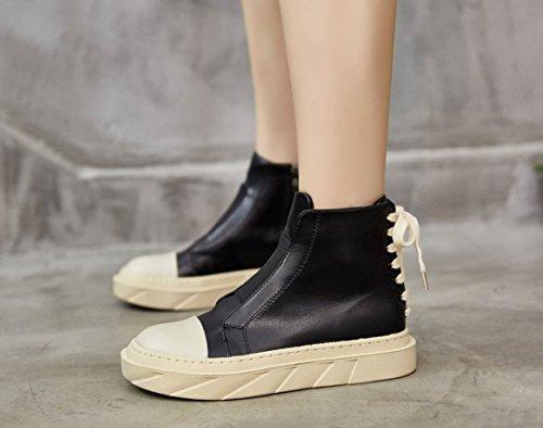 Martin stivali in autunno e in inverno le donne fascetta di chiusura lampo laterale high-top calzature versione coreana di vento gli studenti spesso selvatici Snow Boots Black and white