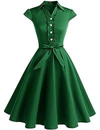 Wedtrend Robe Vintage Rockabilly 50's 60's Style Audrey Hepburn avec Boutons de cœur à Pois