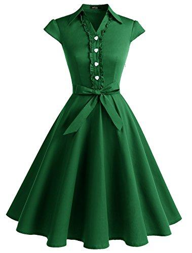 Wedtrend Robe Vintage Rockabilly 50's 60's Style Audrey Hepburn avec Boutons de cœur à Pois WTP10007 Army Green S