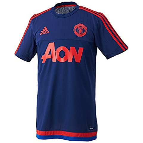 Adidas Maillot de foot à manches courtes pour homme - Maillot de Manchester United SMALL Dark Blue/Scarlet/Collegiate Royal