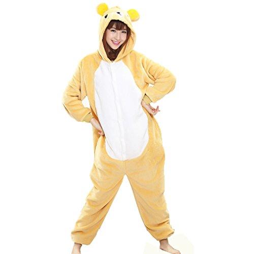 Z-Chen Herren Damen Jumpsuit Schlafanzug Tierkostüm für Halloween Karneval Fasching, Bär, Gr.M (Körpergröße - Halloween-z-bar