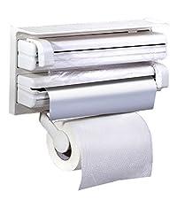 Sevia Triple Paper Dispenser for Tissue Paper Roll   3 in 1 Foil Cling Film Tissue Paper Roll Holder for Kitchen   Kitchen Triple Paper Roll Dispenser & Holder