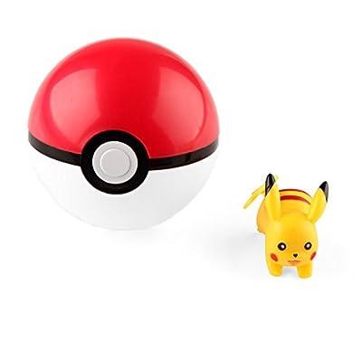 VERY100 Pokeball Pokemon Poke - 7x7cm Bola de juguete con Pikachu gratis de VERY100