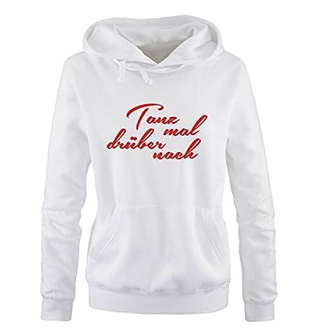Comedy Shirts - Tanz mal drüber nach - Damen Hoodie - Weiss / Rot Gr. XL (Beste Tv-preise Nach Weihnachten)