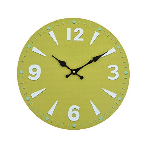 Wanduhr - Greeny - Holz Küchenuhr mit großem Ziffernblatt aus MDF, Retro Uhr im angesagtem Shabby Chic Design mit leisem Quarz-Uhrwerk, Ø: 32 cm (Große Greenies)
