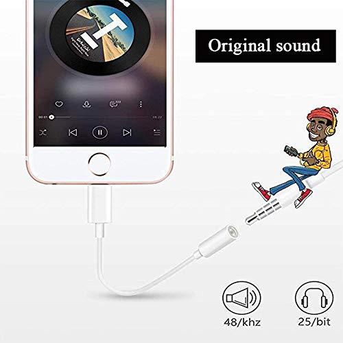 Luvfun Adaptador Auriculares Adaptador de Audio a 3.5mm Auriculares Jack Adaptador- Blanco