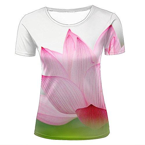 JINGTEE 3D Tshirts Women Pink Lotus in Bloom Casual Graphics Tees XS