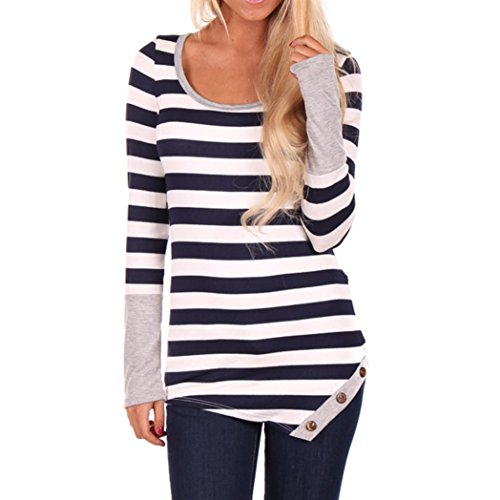Women Fashion Stripes Stitching Long-sleeved Shirt Tops Blouse Anglewolf (M, Gray)